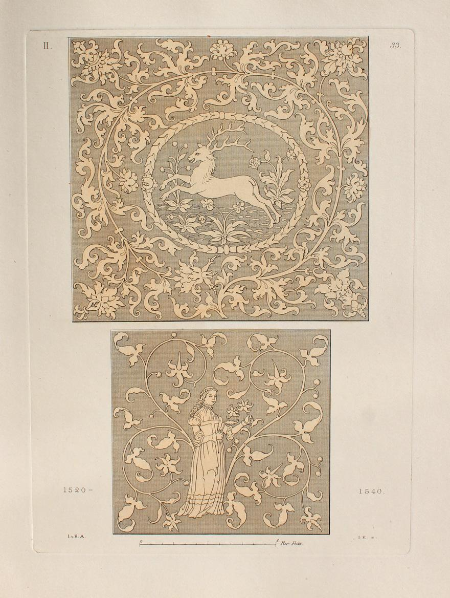 """Zwei gestickte Tischdecken"""" originaler handkolorierter Kupferstich ca.26x19cm: Hefner-Alteneck, Jakob Heinrich"""