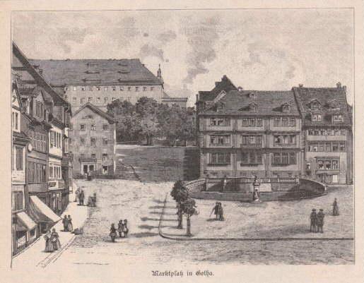 Marktplatz in Gotha. Holzstich.: Gotha -