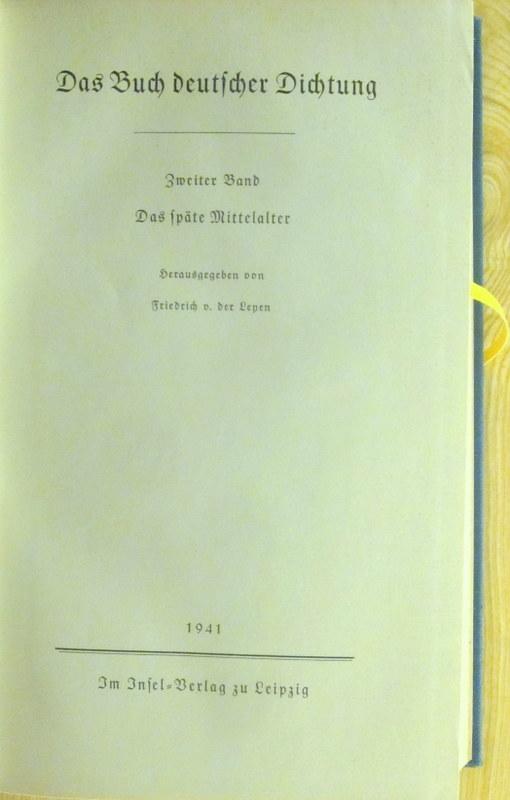 Das Buch deutscher Dichtung Band II. Das: Leyen, Friedrich von