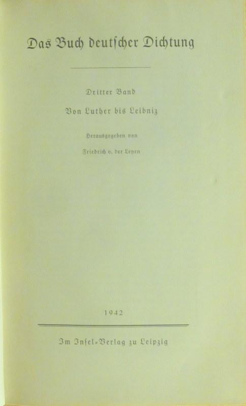 Das Buch deutscher Dichtung Band III. Von: Leyen, Friedrich von