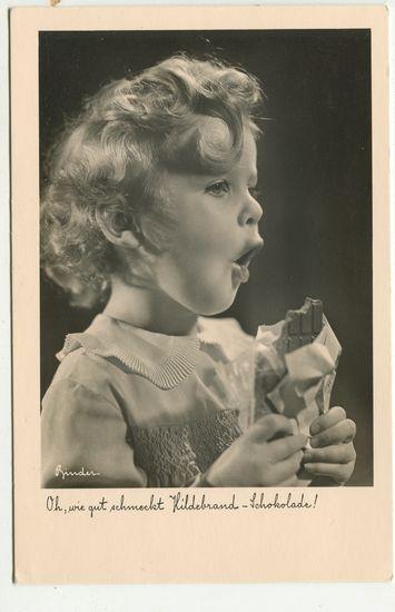 Postkarte: Oh, wie gut schmeckt Hildebrand-Schokolade! Aus: Hildebrand: