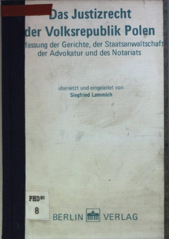 Das Justizrecht der Volksrepublik Polen : Verfassung: Lammich, Siegfried [Hrsg.]: