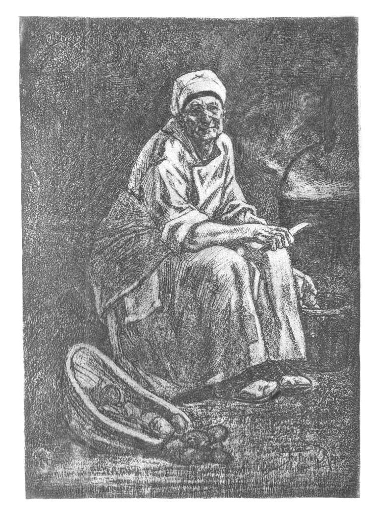 Oude Kate (La vieille Cathérine). Retuschierte Heliogravüre: Rops, Félicien (1833