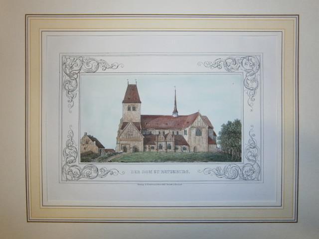 Der Dom zu Ratzeburg. Kolorierte Federlithographie aus: Ratzeburg