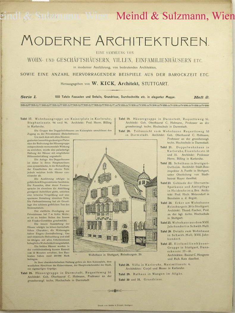 Moderne Architekturen. Eine Sammlung von Wohn- und: Kick, W(ilhelm; Hrsg.).