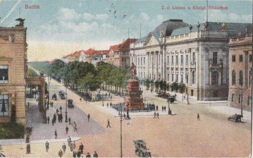 U.d.Linden u. Königl. Bibliothek. Ansichtskarte in farbigem: Berlin -