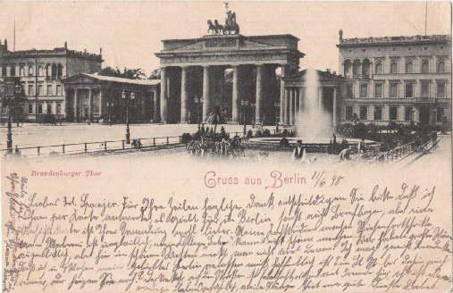 Brandenburger Thor. Ansichtskarte in Lichtdruck. Abgestempelt Berlin: Berlin -