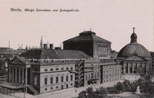 Königl. Opernhaus und Hedwigskirche. Ansichtskarte in Photodruck.: Berlin -