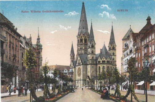 Kaiser- Wilhelm Gedächtniskirche. Ansichtskarte in farbigem Lichtdruck.: Berlin -