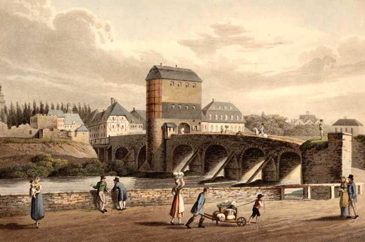 Entrance into Hanau over the Kinzig Bridge.: HANAU: