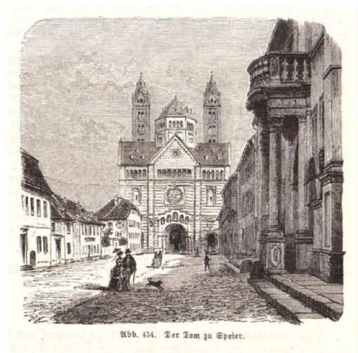 Der Dom zu Speier. Holzstich aus Spamer`s: Speyer -