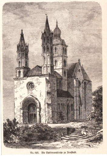 Die Liebfrauenkirche zu Arnstadt. Holzstich aus Spamer`s: Arnstadt -