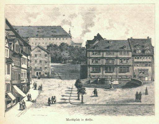 Marktplatz in Gotha. Holzstich .: Gotha -