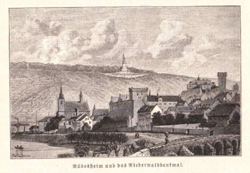 und das Niederwalddenkmal. Holzstich aus einem illustrierten: Rüdesheim -