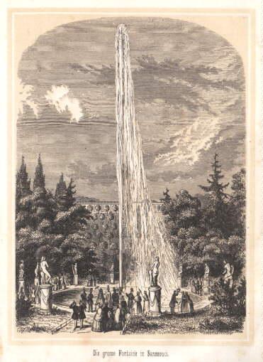 Die große Fontaine in Sanssouci. Holzstich mit: Potsdam -
