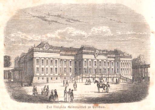 Das königliche Residenzschloß zu Potsdam. Holzstich.: Potsdam -