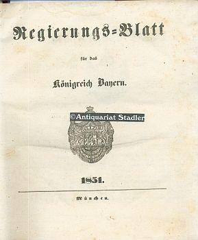 Regierungs=blatt für das Königreich Bayern 1851. No.: Amtsblatt:
