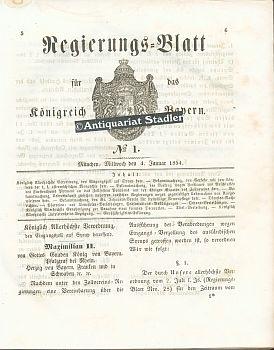 Regierungs=blatt für das Königreich Bayern 1854. No.: Amtsblatt: