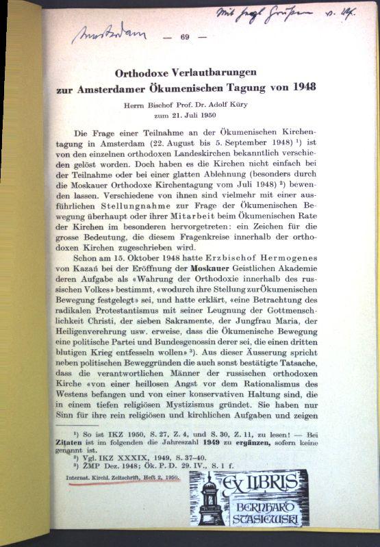 Orthodoxe Verlautbarungen zur Amsterdamer Ökumenischen Tagung von: Spuler, Bertold: