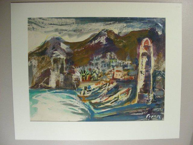 """Collioure(""""). Mediteraner Hafenort mit zwei Fischerkähnen und: Frenel, A.:"""
