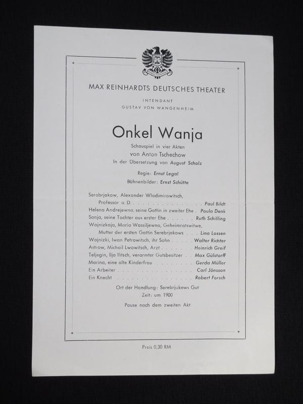 Programmzettel Deutsches Theater Berlin 1945/46. ONKEL WANJA: Max Reinhardts Deutsches