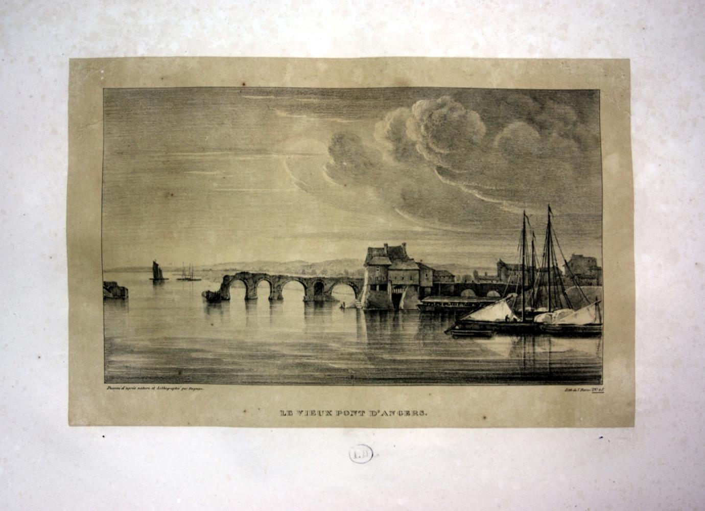 """Le vieux Pont d Angers"""" - Pont: Dagnan, Isodore:"""