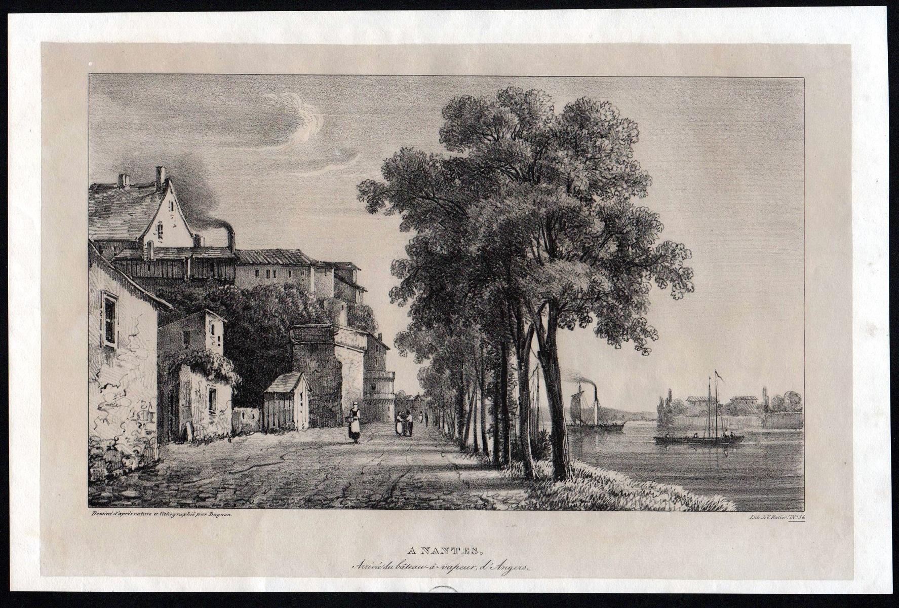 """A Nantes"""" - Nantes Ansicht vue view: Dagnan, Isodore:"""