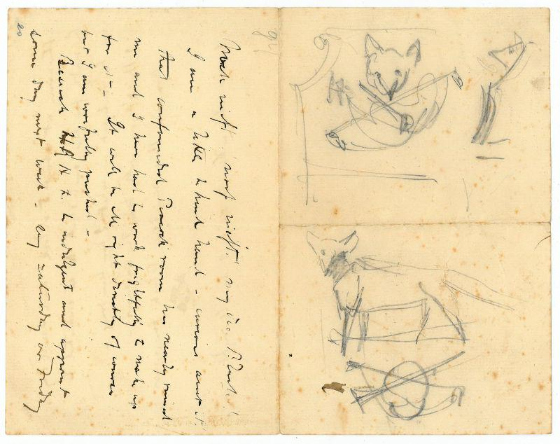 Autograph letter written in ink, with two: Whistler, James Abbott