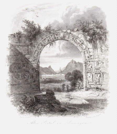 Altes Portal in Remagen. Stahlstich Joh.Poppel nach: Remagen -