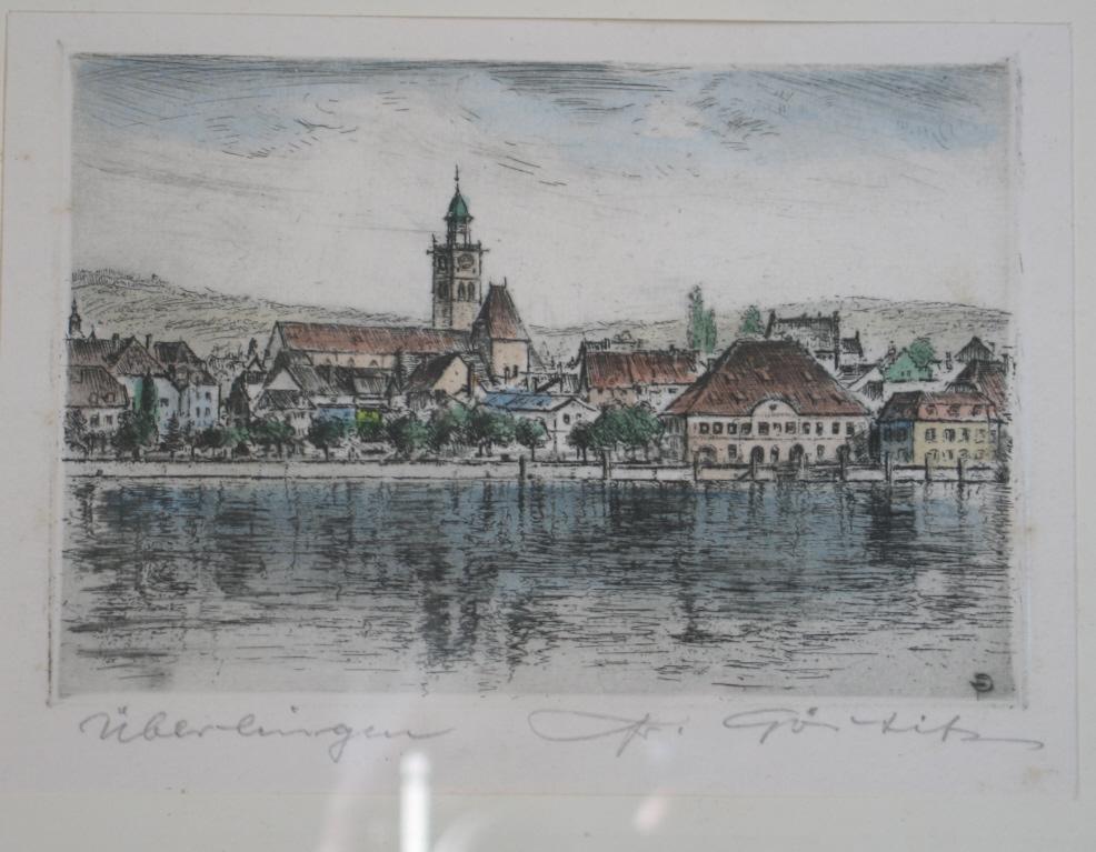 Ansicht von Überlingen am Bodensee vom Wasser: Deutscher Künstler