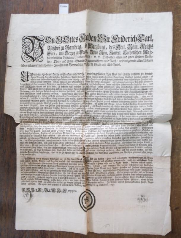Von Gottes Gnaden, Wir Friderich Carl, Bischof: Bamberg. - Friedrich