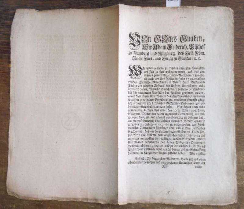 Von Gottes Gnaden, Wir Adam Friderich, Bischof: Bamberg. - Adam