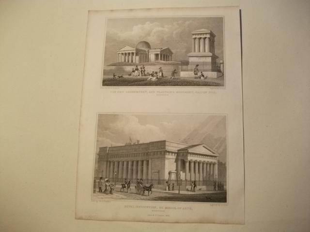 The New Oberservatory, and Playfair's Monument, Calton: England, Edinburgh.