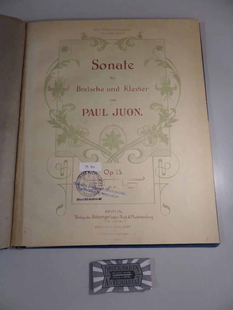 Sonate für Bratsche und Klavier. Op.15. S.9144.: Juon, Paul: