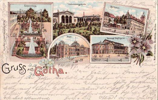 Gruss aus Gotha. Fünf Ansichten (Schlossberg, Verbrennungshalle,: Gotha -
