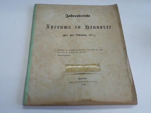 Jahresbericht der Lyceums zu Hannover über das: Ahrens, H. L.