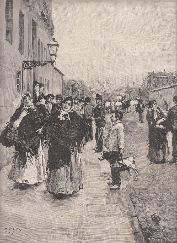 Zigarren- und Zigarettendreherinnen in Madrid. Frauen verlassen: Tabak,