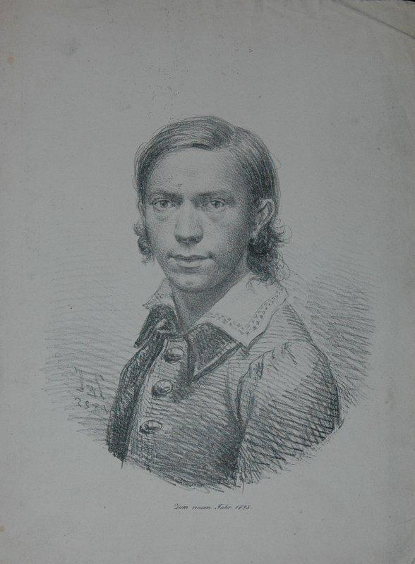 Selbstportrait. Brustfigur nach links, Kopf en face,: Engelhart, Johann Andreas