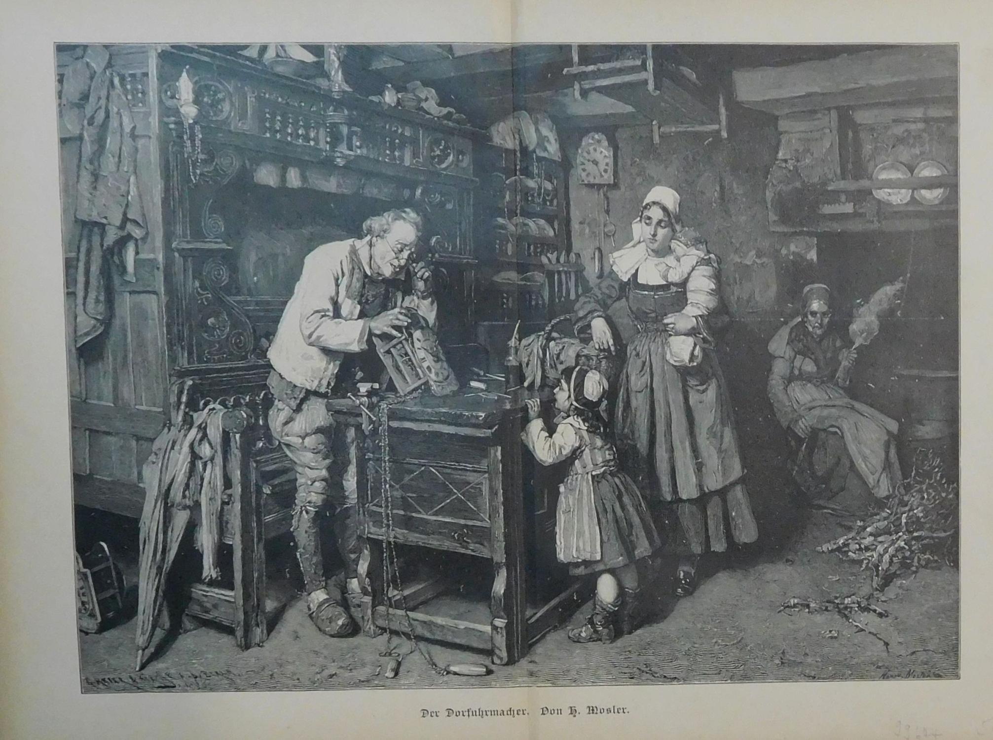 Der Dorfuhrmacher. Szene in einer Uhrmacherwerkstatt: Der: Uhrmacher