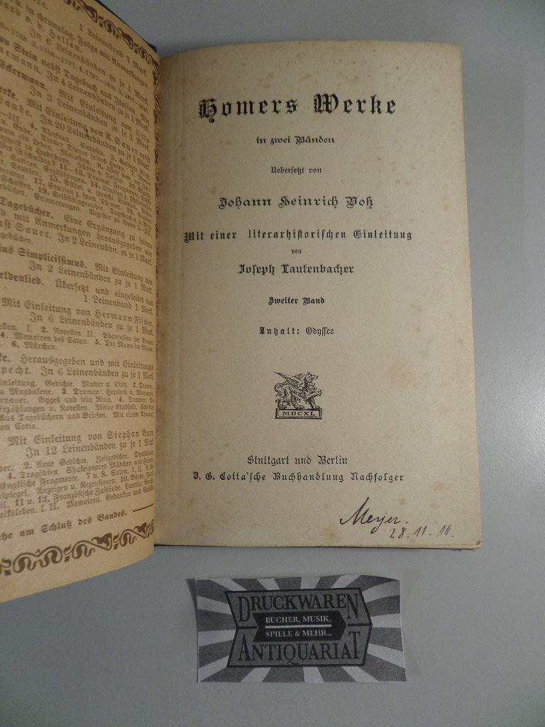 Homers Werke in zwei Bänden - Zweiter: Voss, Johann Heinrich: