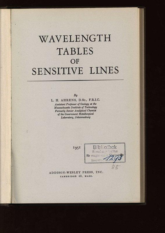 Wavelength Tables of Sensitive Lines.: Ahrens, L. H.: