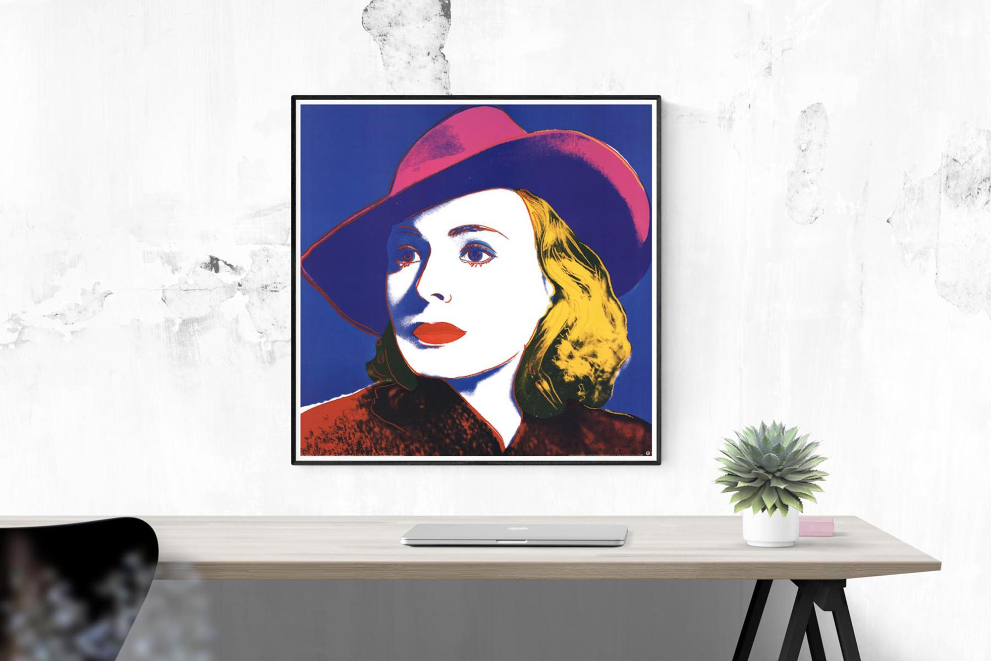"""38/"""" x 38/"""" Poster 1990 Pop Art Multicolor Blue Lg ANDY WARHOL Ingrid with Hat"""