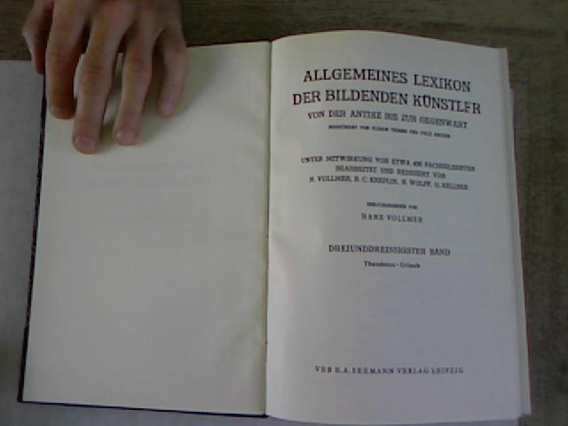 Allgemeines Lexikon der bildenden Künstler von der: Vollmer, Hans [Hrsg.]: