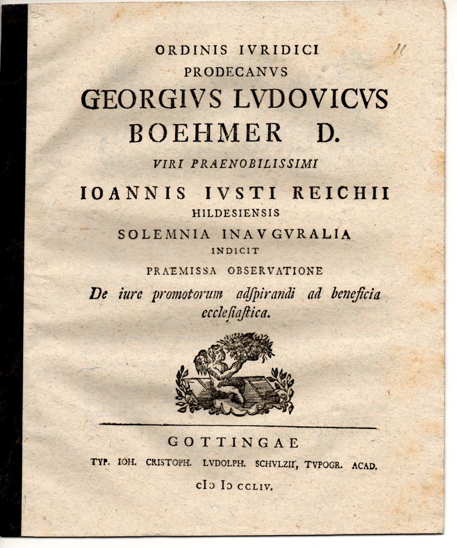 De iure promotorum adspirandi ad beneficia ecclesiastica.: Böhmer, Georg Ludwig