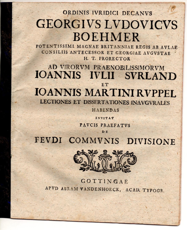 De feudi communis divisione. Promotionsankündigung von Johann: Böhmer, Georg Ludwig