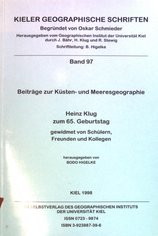 Beiträge zur Küsten- und Meeresgeographie : Heinz: Higelke, Bodo (Hrsg.)