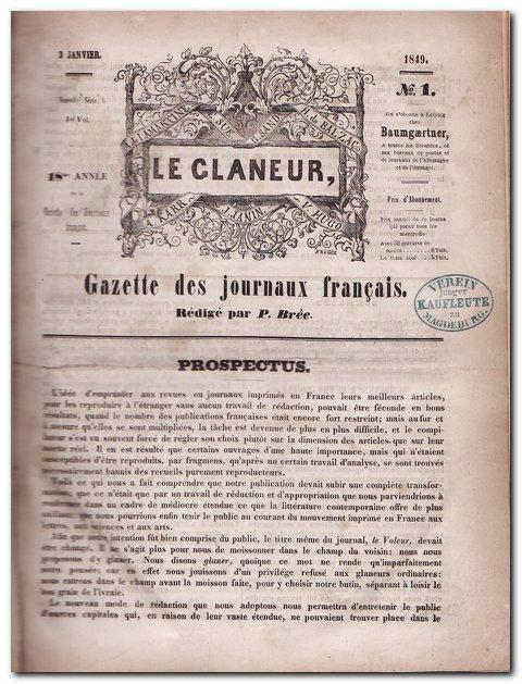 Le Glaneur - (Gazette des Journaux Francais): Bree , P.