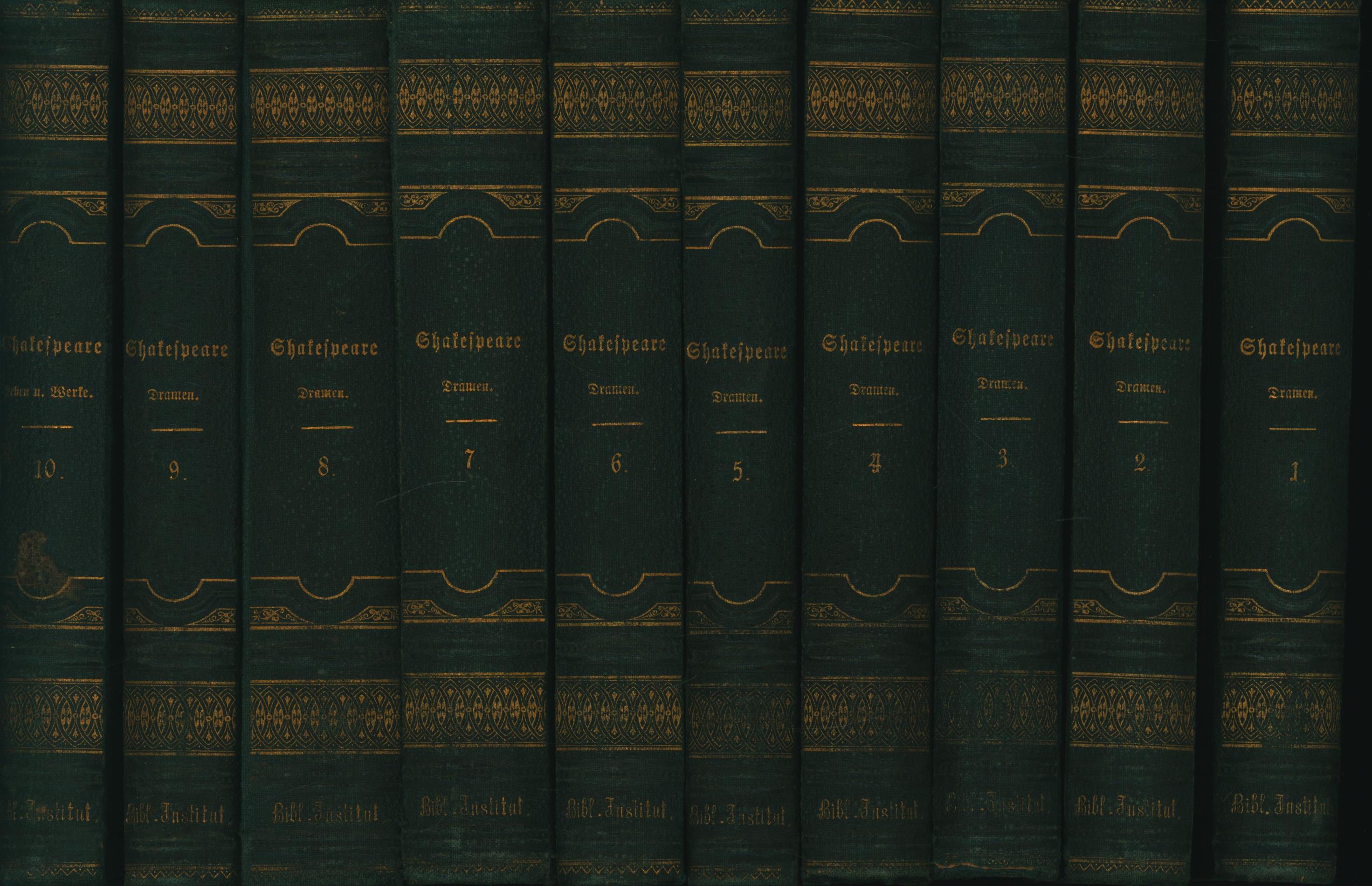 10 Bände Shakespeare in deutscher Übersetzung. Komplett.,Erster: Shakespeare, William