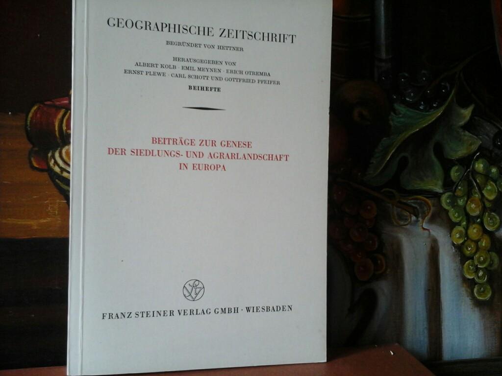 Beiträge zur Genese der Siedlungs- und Agrarlandschaft: JÄGER, HELMUT (Hrsg.),