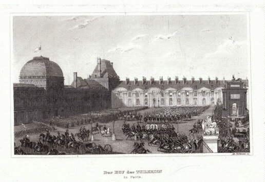 Der Hof der Tuilerien in Paris. Stahlstich: Paris -